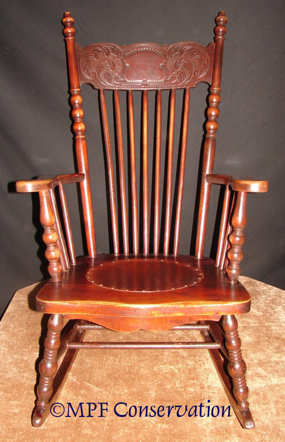 Antique Rocking Chair With Leather Seat Image And Candle - Antique Rocking  Chair With Leather Seat - Antique Leather Chair Seats Antique Furniture