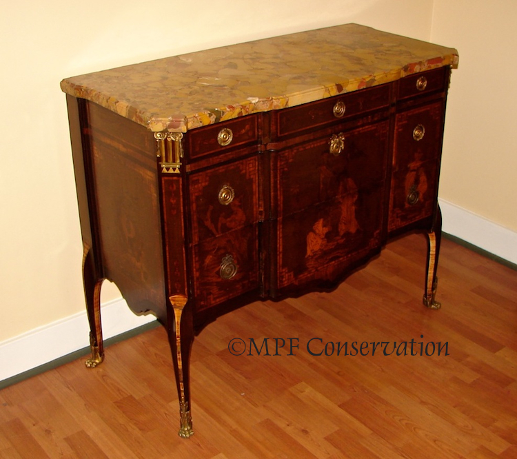... French Oriental Motif Marquetry Empire Revival Marble Top Chest